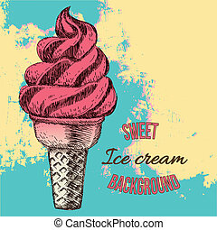 Ice cream, hand drawn illustration - Sweet dessert, Ice...