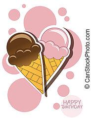 Ice cream happy birthday card with bubbles, vector