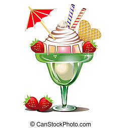 Icecream in a glass with strawberries. Full scalable vector graphic included Eps v8 and 300 dpi JPG.