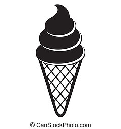 Ice cream icon - Black vector ice cream icon on white...