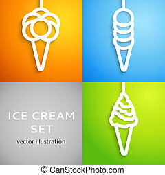 Ice cream icon cut out white paper. Vector illustration