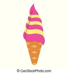 Ice Cream icon. Fantasy World of the Unicorn. Cartoon style. Vector Illustration