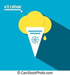 Ice Cream Icon Flat Design Long Shadow Illustration on Blue Background Vector.