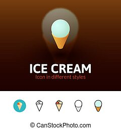 Ice cream icon in different style