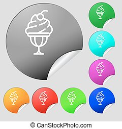 Ice Cream icon sign. Set of eight multi colored round buttons, stickers. Vector