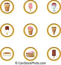 Ice cream icons set, cartoon style