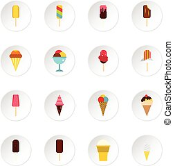 Ice cream icons set, flat style