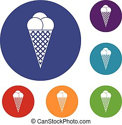 Ice Cream icons set in flat circle reb, blue and green color...