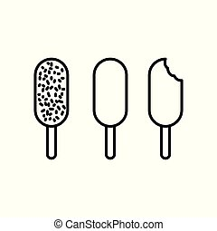 ice cream icons set on white background