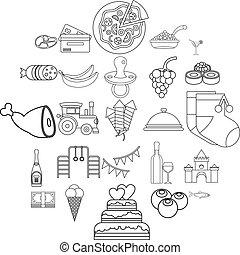 Ice cream icons set, outline style
