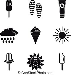 Ice cream icons set, simple style