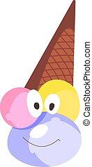 Ice cream, illustration, vector on white background.