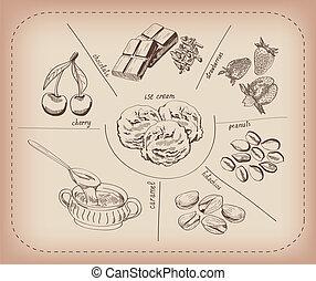 ice-cream - ice cream set of vector sketches handmade