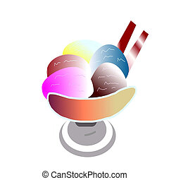 Ice cream in a cup to eat a white background.