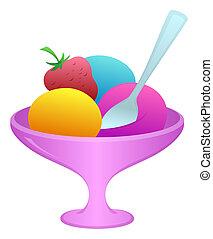 Ice cream in a vase - Sweet dessert, ice cream and fruit in...