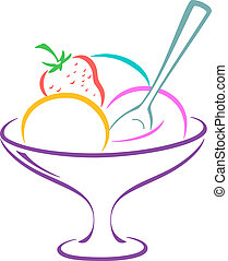Ice-cream in a vase - Sweet dessert, ice-cream and fruit in...