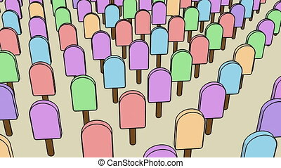 Ice cream in cartoon style on soft pink. Soft color. Pop and dance mood 4k