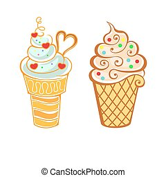Ice cream in cartoon style