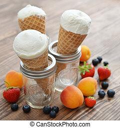 Ice cream in cones