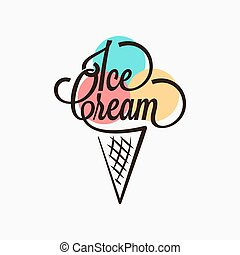 Ice cream in the waffle cone logo. Ice cream cone