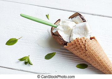 Ice cream in waffle cone