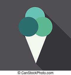 Ice cream in waffle cone vector icon.