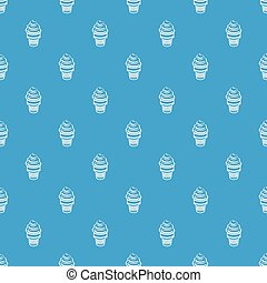 Ice cream in waffle cup pattern vector seamless blue