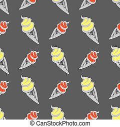 Ice cream  in waffle cup,seamless pattern