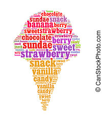 ice cream info text collage Composed in the shape of ice cream