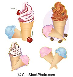 Ice cream label vector illustration