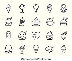 Ice cream line icons. Vanilla sundae, frozen yogurt, bubble waffle. Vector