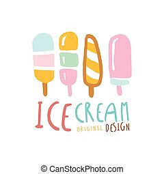 Ice cream logo design, element for restaurant, bar, cafe, menu, sweet shop, colorful hand drawn vector illustration