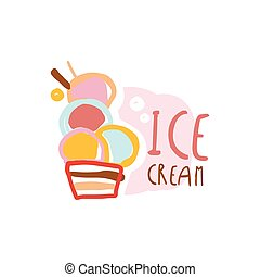 Ice cream logo, element for restaurant, bar, cafe, menu, sweet shop, colorful hand drawn vector illustration