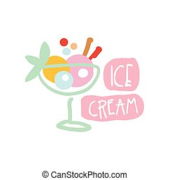 Ice cream logo template colorful hand drawn vector illustration