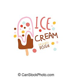 Ice cream logo template original design, element for restaurant, bar, cafe, menu, sweet shop, colorful hand drawn vector illustration