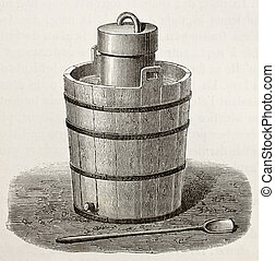 Ice cream maker - Old illustration of an antique ice cream...