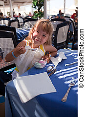 ice-cream, menina, 2, come