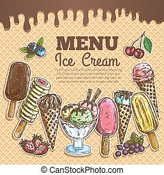 Ice cream menu color sketch on wafer background