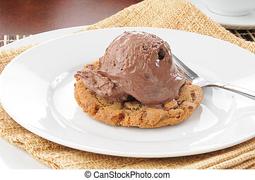 Ice cream on a chocolate chip cookie
