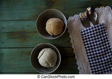 ice cream on wood background