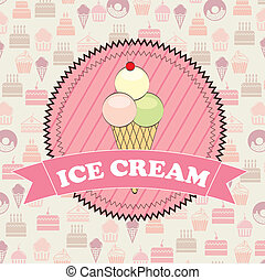 ice cream over pastry icons background vector illustration