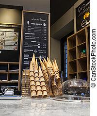 Ice-cream parlor - Cones exposed in the ice-cream parlor