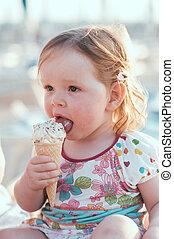 ice-cream, pequeno, comer, menina