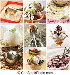 Ice cream - Beautiful ice cream collage made from nine...