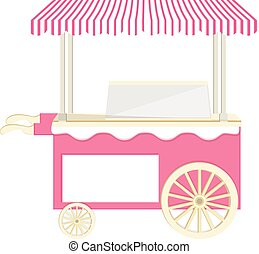 Ice cream pink cart vector icon isolated, ice cream stand, ...