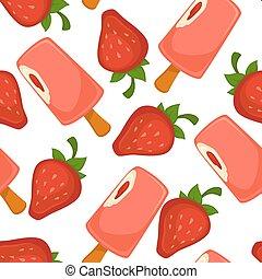 Ice cream pink strawberry vector seamless pattern
