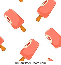 Ice cream pink strawberry vector seamless pattern