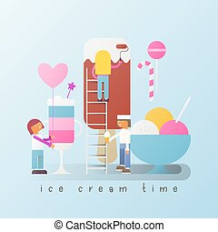 Ice Cream Poster - Small Size Cartoon People Made Big Ice ...