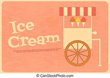 Ice Cream Retro Poster in Flat Design Style. Ice Cream Truck. Vector Illustration.
