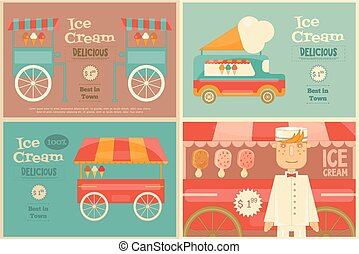 Ice Cream Posters Set in Flat Design Style. Ice Cream Vendor...